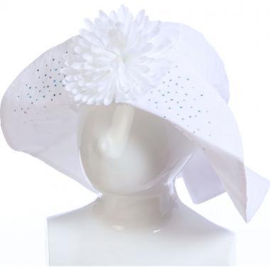 Летняя шляпа TuTu для девочки с цветком (белая), 8-12 лет