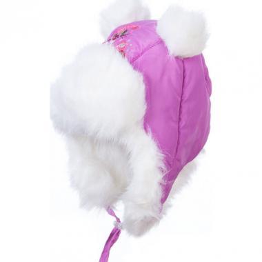 Меховая шапка для девочки КОТЕНОК (сиреневая), 1-2 года
