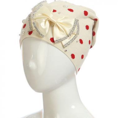 Весенняя шапка для девочки ТЭСС (бежевая), 5-9 лет