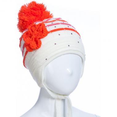 Зимняя шапка AGUTI для девочки с цветком (бежевый), 5-8 лет