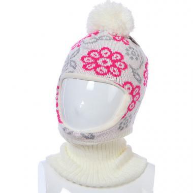 Шапка-шлем Kolad для девочки ЦВЕТЫ (бежевая), 3-6 лет