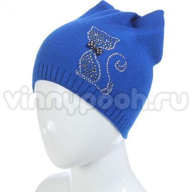 Весенняя шапка для девочки БЕТСИ (индиго), 5-10 лет