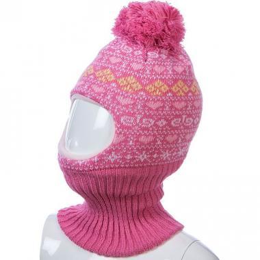 Шапка-шлем Kolad для девочки с сердечками (розовая), 2-3 года