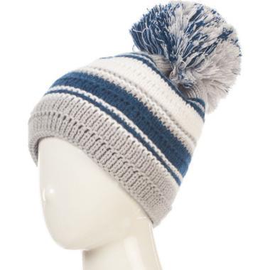 Зимняя шапка AGBO для девочки-подростка КЛАРА (серый/синий), 9-15 лет