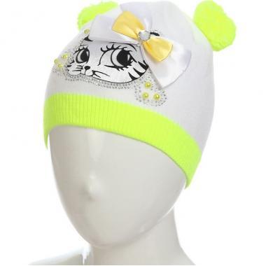 """Весенняя шапочка с помпонами для девочки """"Китти"""" (белый/желтый), 4-8 лет"""