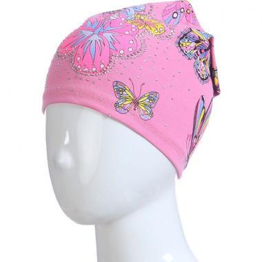 Хлопковая весенняя шапка для девочки БАБОЧКИ (темно-розовая), 3-7 лет