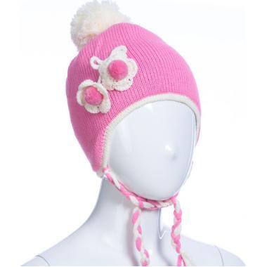 Зимняя шапка AGUTI для девочки с косичками (розовая), 2-4 года