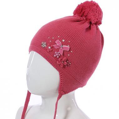 Зимняя шапка BARBARAS для девочки на изософте (брусника), 2-5 лет