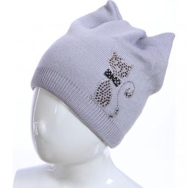 Весенняя шапка для девочки БЕТСИ (серая), 5-10 лет