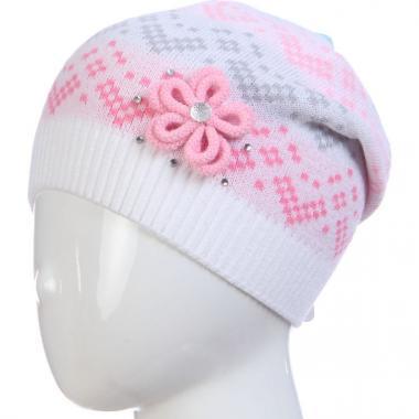 Весенняя шапка ACHTI для девочки с цветком (белая), 7-12 лет