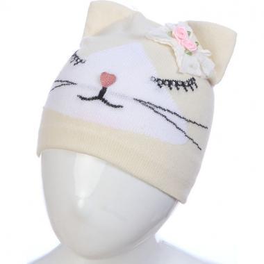Весенняя шапка ANPA для девочки СИМА (бежевая), 1-2 года