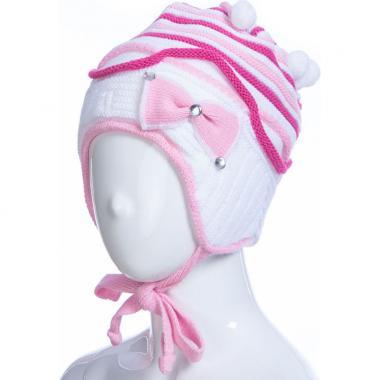 Зимняя шапка AGUTI для девочки с бантиком (белый/малина), 3-6 лет