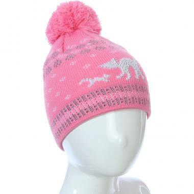 Осенняя шапка Kolad для девочки КОТЯТА (темно-розовая), 3-5 лет