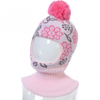 Шапка-шлем Kolad для девочки ЦВЕТЫ (светло-розовая), 3-6 лет