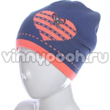 Осенняя шапка GRANS для девочки Сердечко (синий), 5-9 лет