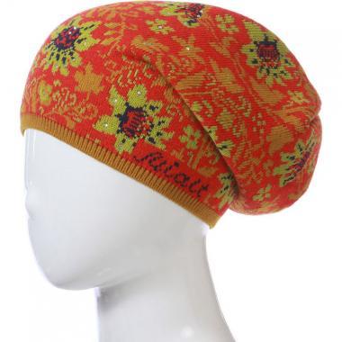 Зимняя шапка МИАЛТ для девочки (красный/салат), 10-15 лет
