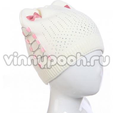 """Демисезонная шапка AMARY для девочки """"Банты"""" (молочный), 4-8 лет"""