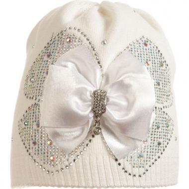 Хлопковая шапочка Arnella для девочки (белая), 5-7 лет