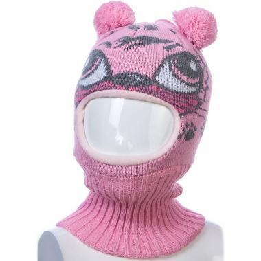 Шапка-шлем Kolad для девочки с рисунком КЭТИ (розовая), 9мес-2 года