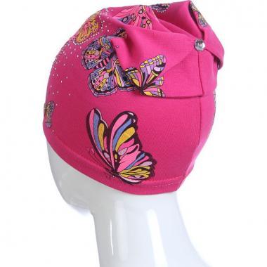 Хлопковая весенняя шапка для девочки БАБОЧКИ (малина), 3-7 лет