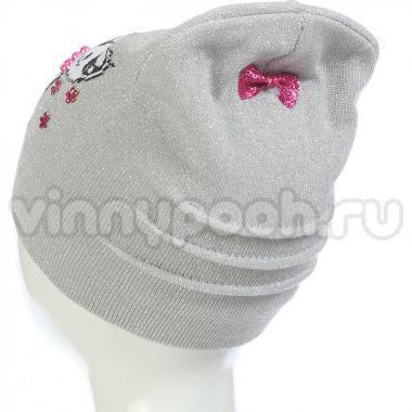 Весенняя шапка ANPA для девочки c кошкой (розовая), 2-4 года