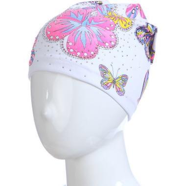 Хлопковая весенняя шапка для девочки БАБОЧКИ (белая), 3-7 лет