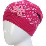 Весенняя шапка ACHTI для девочки с цветком (малина), 7-12 лет
