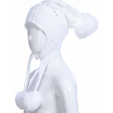 Зимняя шапка AGUTI для девочки с узором (белая), 4-7 лет