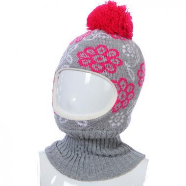 Шапка-шлем Kolad для девочки ЦВЕТЫ (серая), 3-6 лет