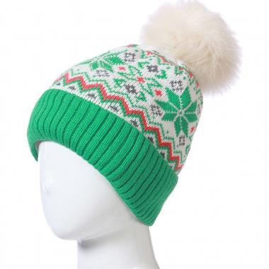 Зимняя шапка ARTEX для девочки с орнаментом (зеленая), 9-14 лет