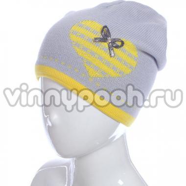 Осенняя шапка GRANS для девочки Сердечко (серый), 5-9 лет