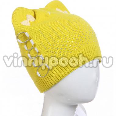 """Демисезонная шапка AMARY для девочки """"Банты"""" (горчица), 4-8 лет"""