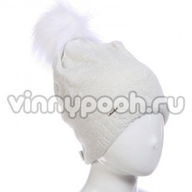 Зимняя шапка AGBO для девочки SASANKA (белый), 10-15 лет