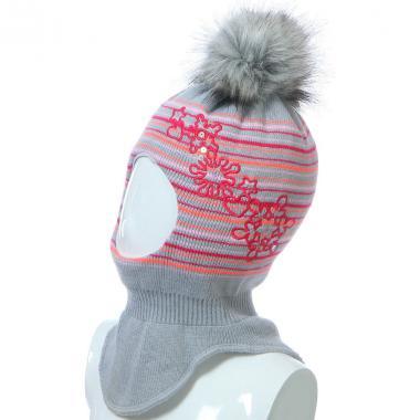 Шапка-шлем GRANS для девочки на изософте (серая), 2-4 года