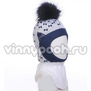 Шапка-шлем AGBO для девочки KARINA на изософте (белый/синий), 3-6 лет
