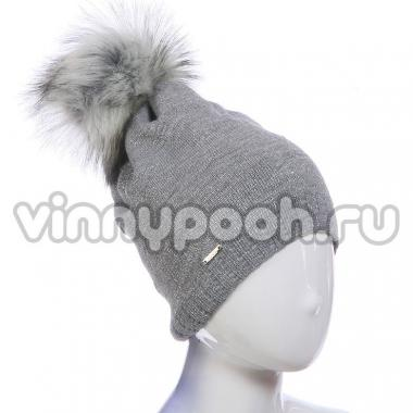 Зимняя шапка AGBO для девочки SASANKA (серый), 10-15 лет