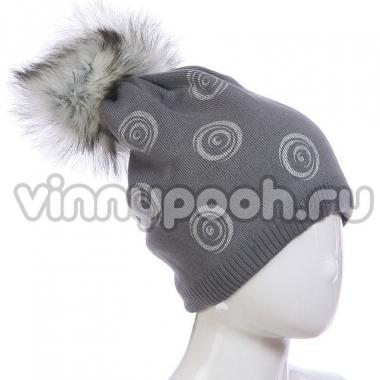 Зимняя шапка AGBO для девочки ISKIERKA (серый), 8-14 лет