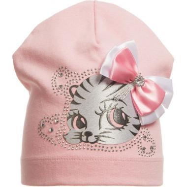 """Хлопковая шапочка для девочки """"Китти"""" (розовая), 2-4 года"""