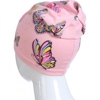Хлопковая весенняя шапка для девочки БАБОЧКИ (светло-розовая), 3-7 лет