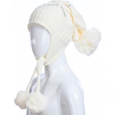 Зимняя шапка AGUTI для девочки с узором (бежевая), 4-7 лет