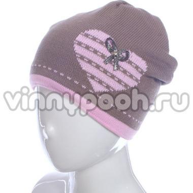 Осенняя шапка GRANS для девочки Сердечко (капучино), 5-9 лет