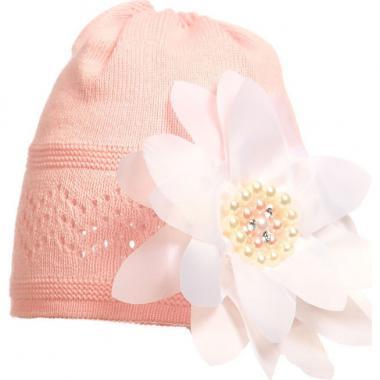 Хлопковая ажурная шапочка для девочки (персиковая), 2-4 года