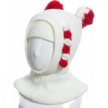 Шапка-шлем TUTU для девочки РОЗОЧКИ (белая), 2-8 лет