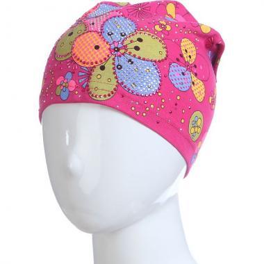 Хлопковая весенняя шапка для девочки ЦВЕТЫ (малиновая), 4-8 лет
