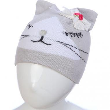 Весенняя шапка ANPA для девочки СИМА (серая), 1-2 года
