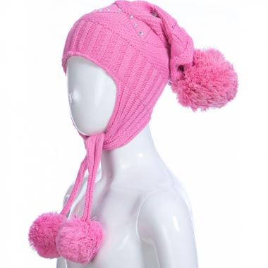 Зимняя шапка AGUTI для девочки с узором (темно-розовая), 4-7 лет