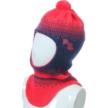 Шапка-шлем GRANS для девочки на хлопке (коралл/синий), 4-7 лет