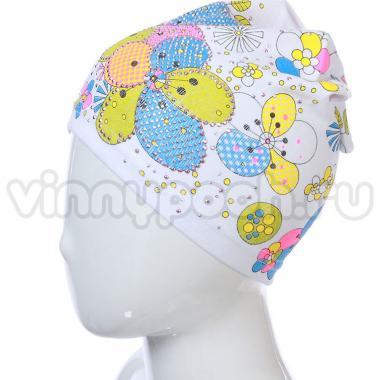 Хлопковая весенняя шапка для девочки ЦВЕТЫ (белая), 4-8 лет