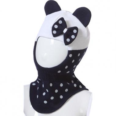 Шапка-шлем на изософте GRANS для девочки в горошек (белый/синий), 2-4 года