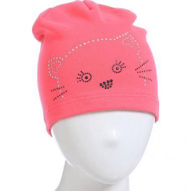 Хлопковая шапочка для девочки с рисунком (фуксия), 4-8 лет